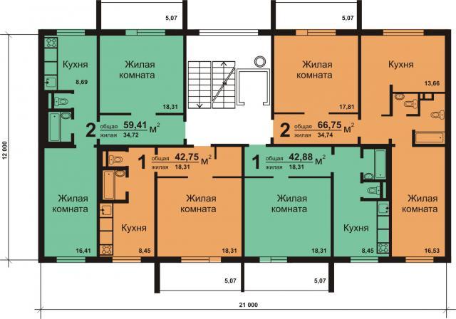 Планировка квартир. Серия 97 Состав комнат 2-1-1-2