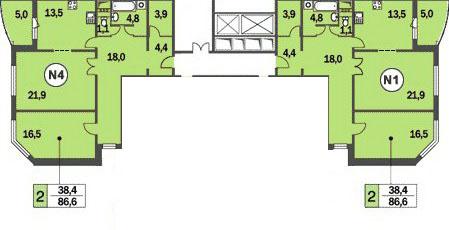 планировки двухкомнатных квартир в домах КОПЭ-башня