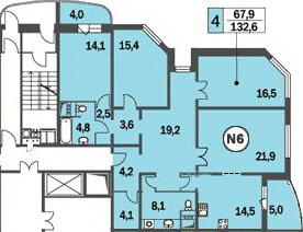 Шикарная планировка четырёхкомнатной квартиры в домах КОПЭ-Башня