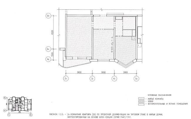 Перепланировка двухкомнатной квартиры в домах серии П44Т/17Н1