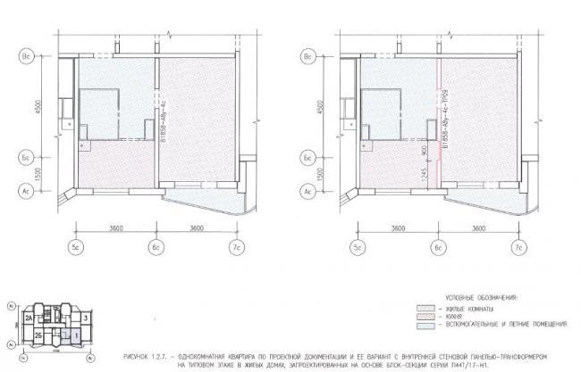 Перепланировка однокомнатной квартиры в домах серии П44Т/17- Н1