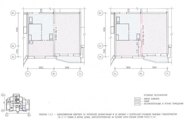 Перепланировка однокомнатной квартиры в домах серии П44Т/17Н1