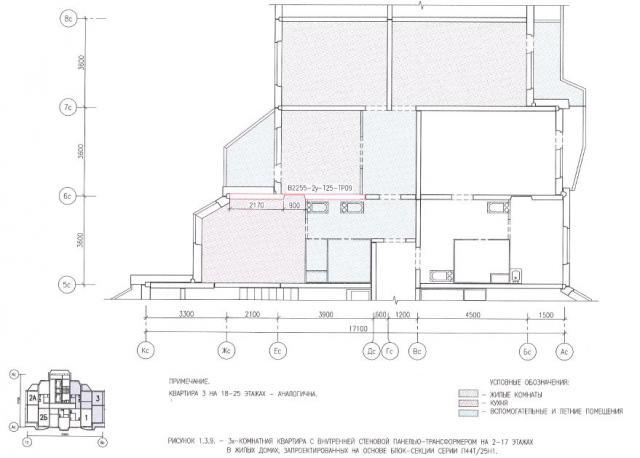 Перепланировка трехкомнатной квартиры в жилых домах серии П44Т/25Н1