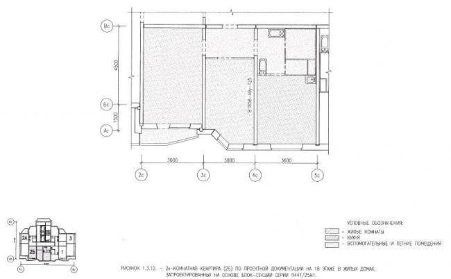 Перепланировка двухкомнатной квартиры в жилых домах серии П44Т/25Н1
