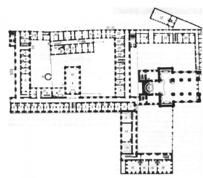 10. Полоцк. Иезуитский коллегиум. Учебный корпус.  Фото автора. План 1-го этажа. 1828 г.  (ЦГВИА)