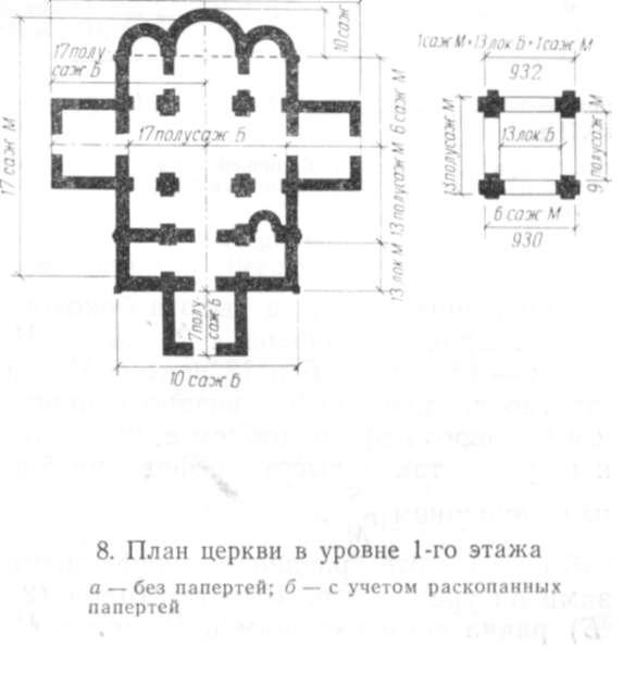 План церкви верхнего этажа