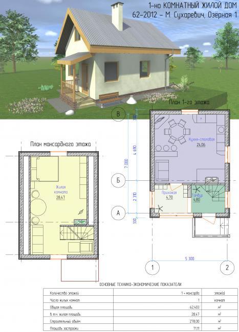 62-2012 - Готовый проект дачного дома с мансардой