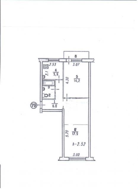 Перепланировка 2-х ком.квартиры, Типовой проект 1-335А-1 (отр.адм.)