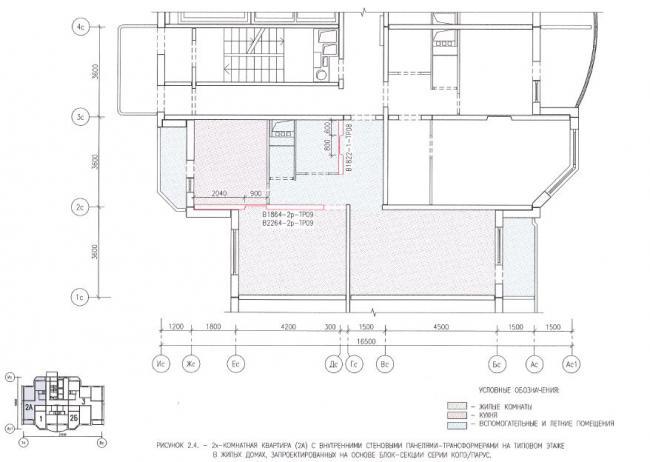 перепланировка двухкомнатной квартиры в домах серии КОПЭ/ПАРУС