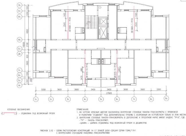 Перепланировка квартир на 13-17 этажах в домах серии ПЗМК/17Н1