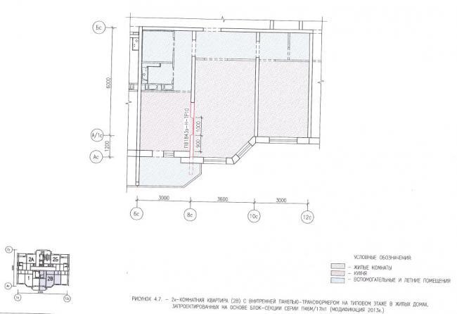 Перепланировка двухкомнатных квартир в домах серии П46М/17Н1