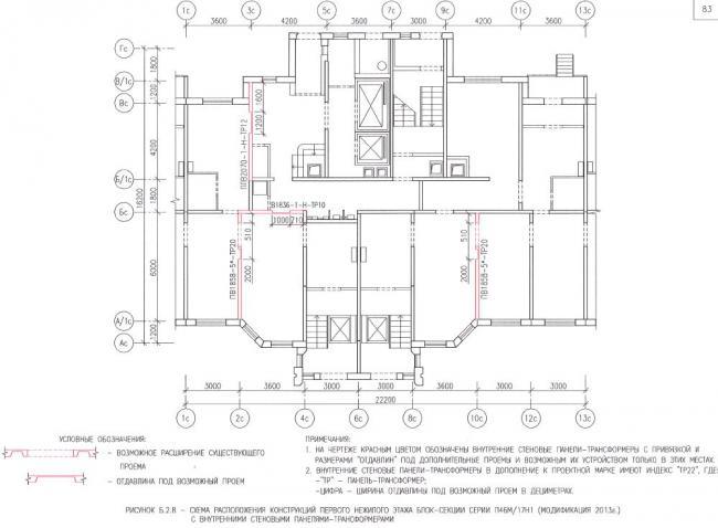 Перепланировка первых нежилых этажей в домах серии П46М/17Н1(модификация 2013г)
