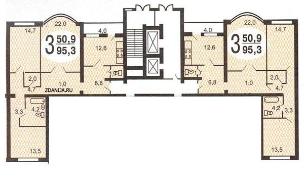 Схема квартиры серии 135 а