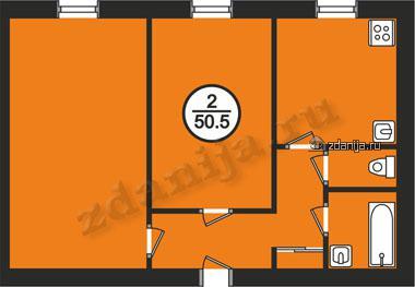 планировки двухкомнатных квартир в домах в домах серии II-03