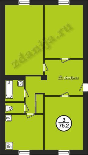 планировки трехкомнатных квартир в домах в домах серии II-03