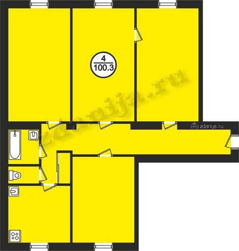 планировки четырехкомнатных квартир в домах в домах серии II-03