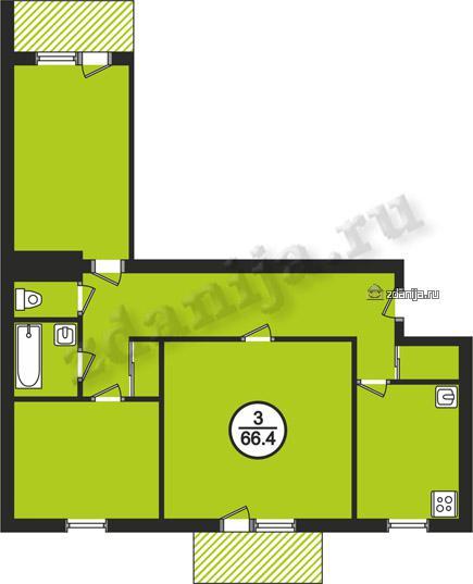 планировки трёхкомнатных квартир в домах в домах 87 серии