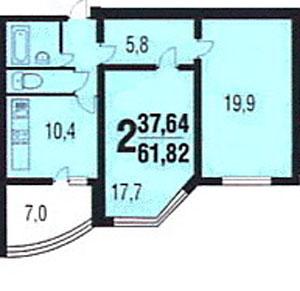 планировки двухкомнатных квартир в домах КОПЭ-М-Парус