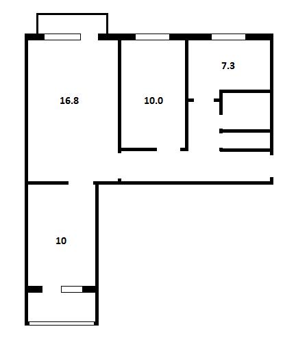 Трёхкомнатная квартира в домах серии 1-447С-47
