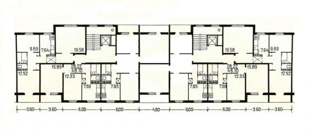 Серия 84 с планировками квартир (панельные дома, спаренные лоджии 5 и 9 этажей)