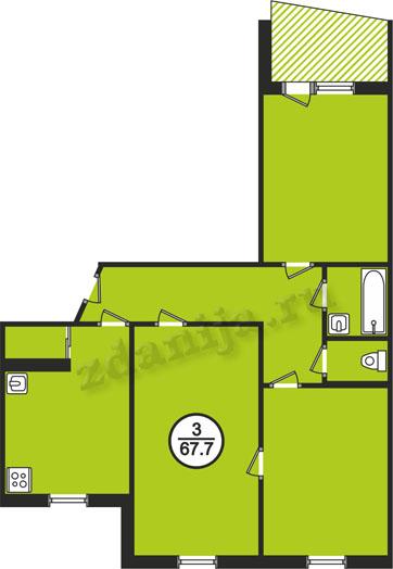 планировки трёхкомнатных квартир в домах в домах 121 серии