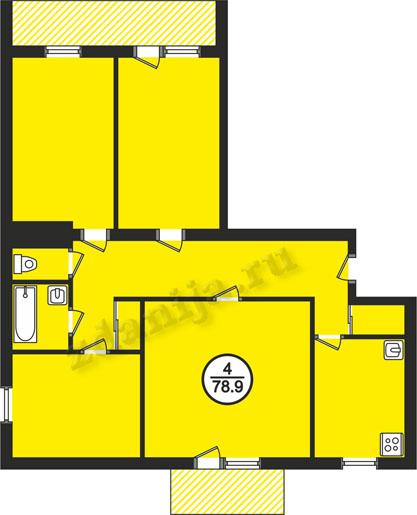 планировка 4-комнатных квартир в домах в домах 87 серии