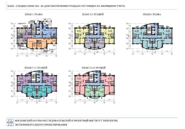 Серия ПМ-Ш от МНИИТЭП - Планировки квартир