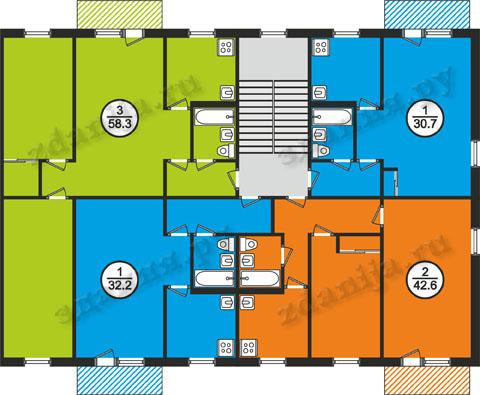 Общесоюзная серия 1-464, жилые дома и планировки квартир (основная ветка)