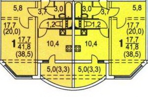 планировки однокомнатных квартир в домах серии КОПЭ-М-Парус