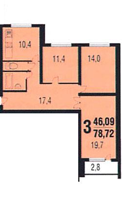планировки трёшек в дома серии КОПЭ-М-Парус