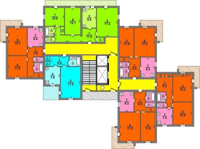 124-87-10 общесоюзная серия, кирпичный дом 14 этажей