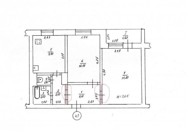 дом серии 111-96 типовой проект 96-027/1.2 (отр.адм.) планировка двухкомнатной квартиры