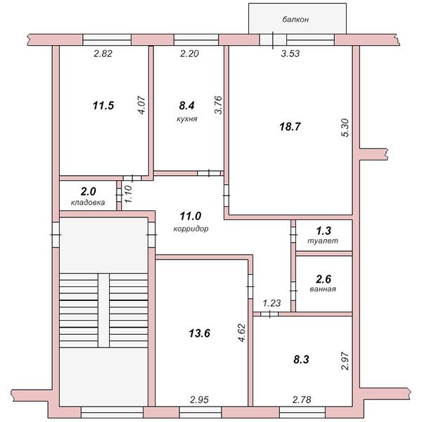 Планировка 4-х комантной квартиры