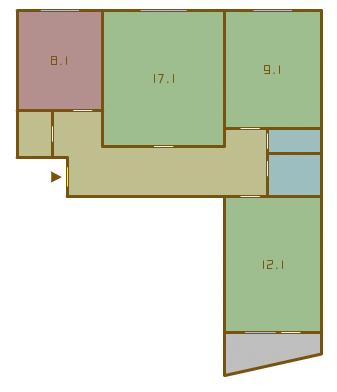 планировка трёхкомнатных квартир в домах серии 1-515/9ЮЛ