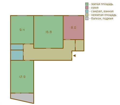 планировка трёхкомнатных квартир в домах серии 1-515/9