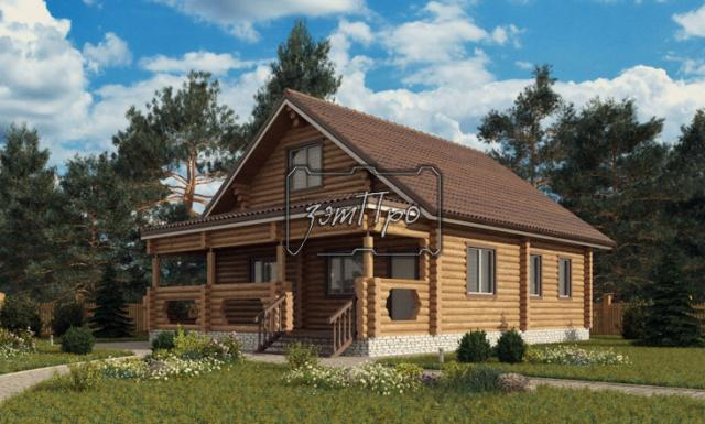 Красивый проект бревенчатого дома