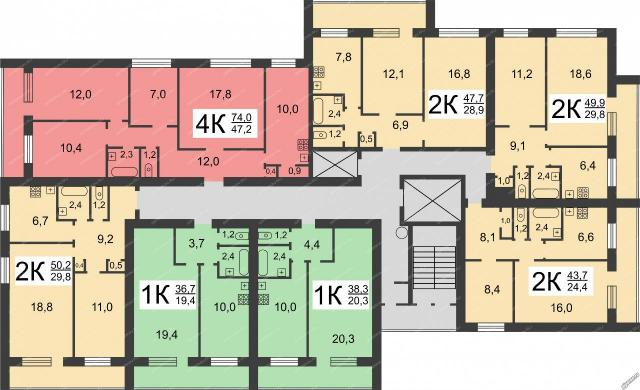 Дома серии Э-93, планировки квартир с размерами  - кирпичные башни