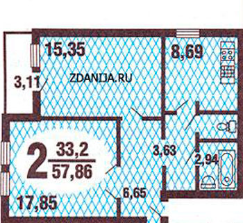 Планировки двухкомнатных квартир в домах ГМС-3