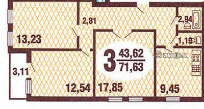 Планировки трёхкомнатных квартир у домов свежей серии ГМС 3