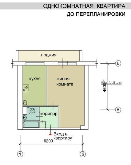 Перепланировка однокомнатной квартиры в домах И209а