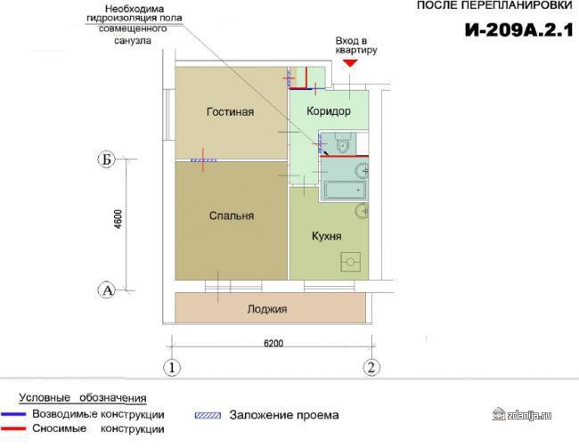 Перепланировка двухкомнатной квартиры в домах И209а