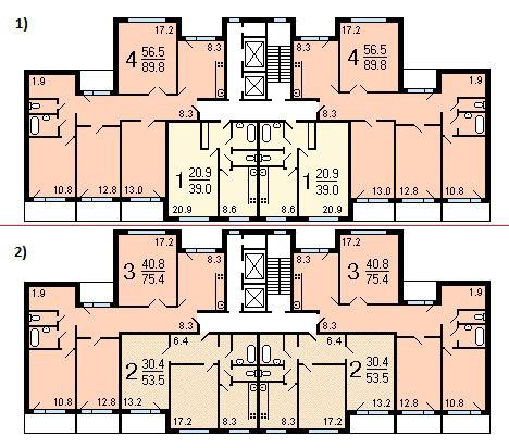 Дома серии п55м, планировки с размерами