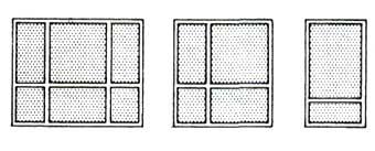 членения окна вертикальными и горизонтальными переплётами