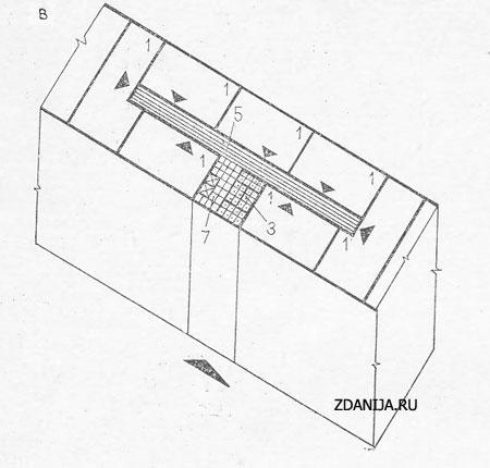 объёмно-планировочная структура семиквартирной секции жилого дома