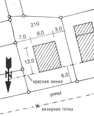 План застройки с нанесённым на него зданием