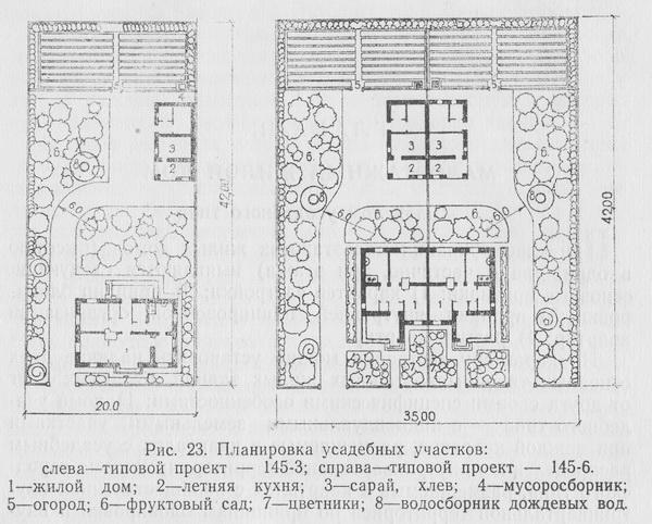 планировка типовых усадеб проектов 145-1 и 145-3