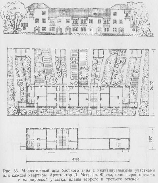 Малоэтажный жилой дом блочного типа с индивидуальными участками для каждой квартиры. Фасад, план первого этажа с планировкой участка, планы второго и третьего этажей