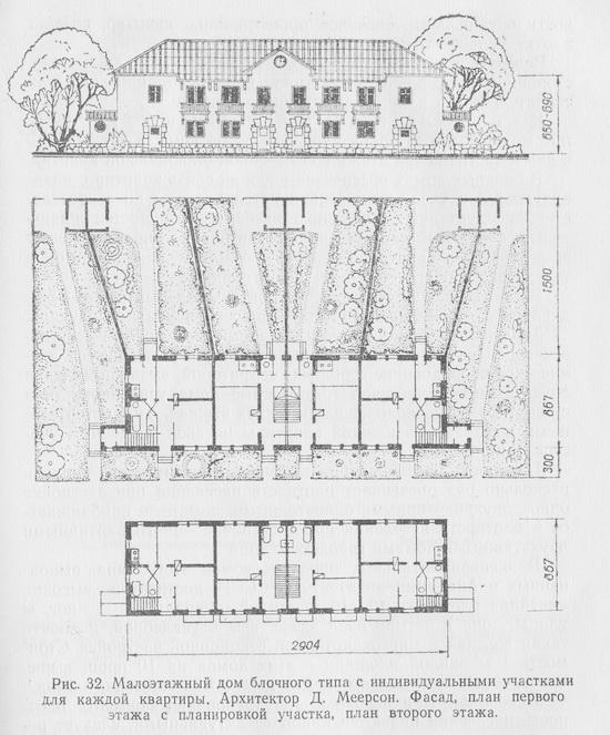 Малоэтажный жилой дом блочного типа с индивидуальными участками для каждой квартиры