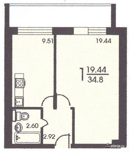 Планировка однокомнатной квартиры ( серия и 209а ) - дома се.