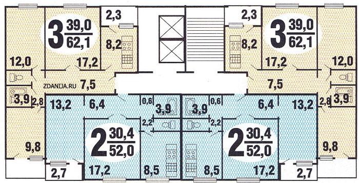 Планировка двухкомнатной и трёхкомнатной квартиры жилом доме.